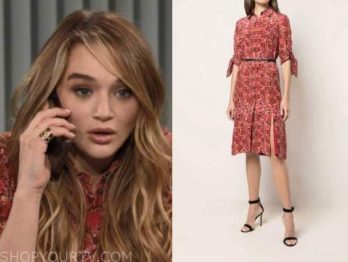 summer newman, hunter king, the young and the restless, red snakeskin dress