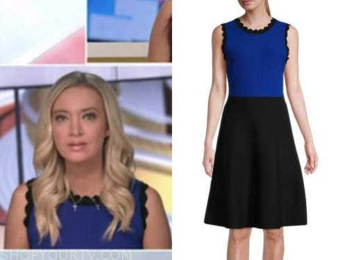 Kayleigh McEnany, outnumbered, black and blue colorblock knit scallop dress