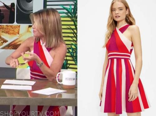 kit hoover, access daily, pink and red halter stripe flare dress