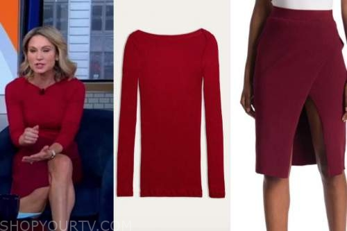 amy robach, good morning america, red knit top, red knit skirt