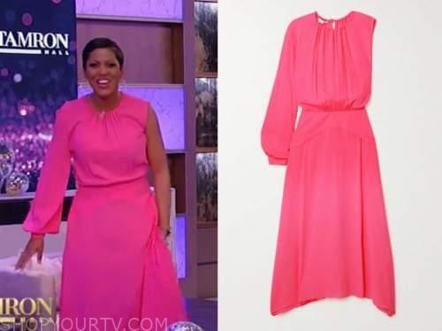tamron hall, tamron hall show, hot pink one-sleeve dress