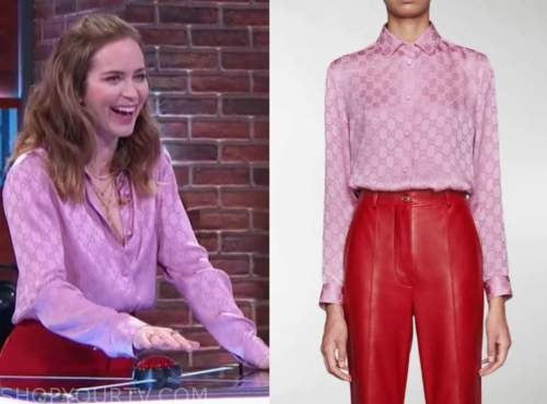 kelly clarkson show, emily blunt, purple pink monogram shirt