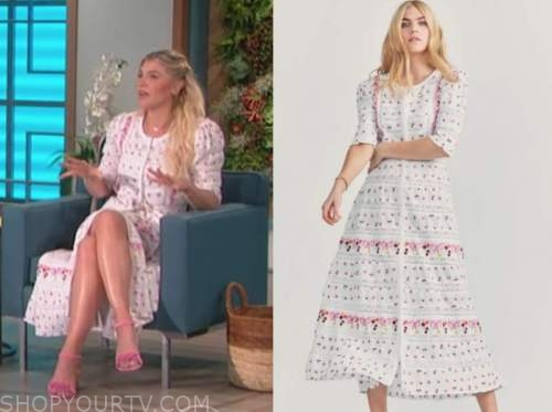 amanda kloots, the talk, white and pink floral embroidered midi dress