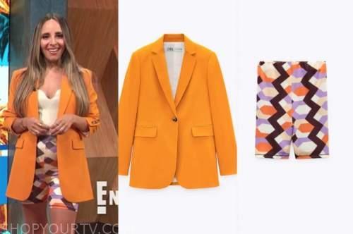 lilliana vazquez, E! news, daily pop, orange blazer, geometric biker shorts
