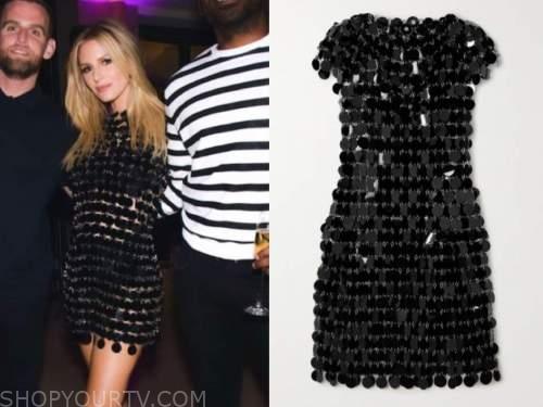 morgan stewart, black birthday embellished dress, instagram fashion