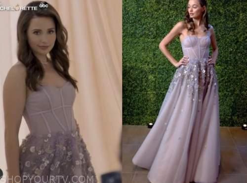katie thurston, the bachelor, lavender purple dress
