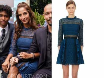 lily winters, christel khalil, the young and the restless, blue lace pleated dress