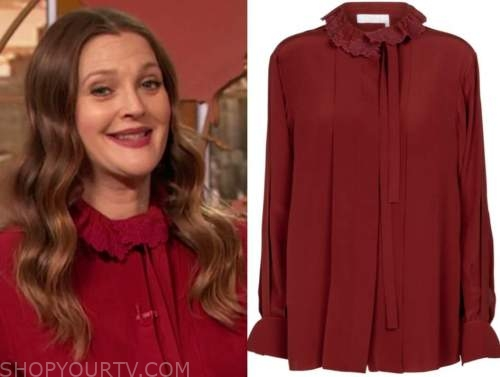 drew barrymore, drew barrymore show, red embroidered tie neck blouse
