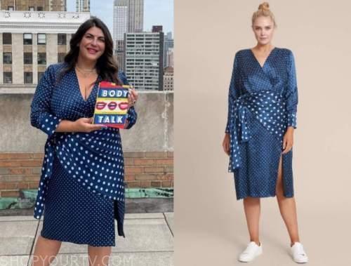 katie sturino, good morning america, blue polka dot midi dress