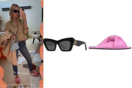 morgan stewart, black sunglasses, pink slide sandals