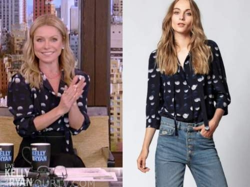 live with kelly and ryan, navy blue dot blouse, kelly ripa