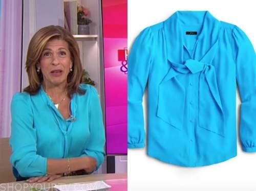 the today show, hoda kotb, blue tie neck blouse