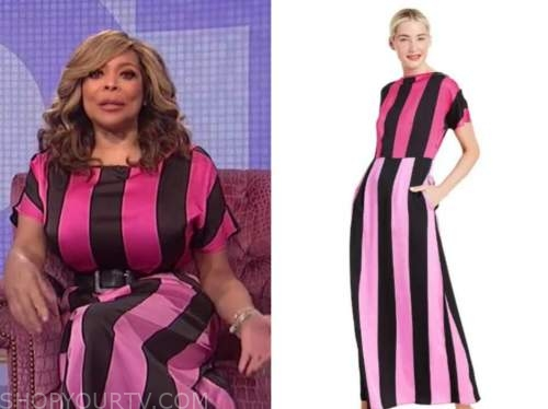 wendy williams, the wendy williams show, pink satin striped dress