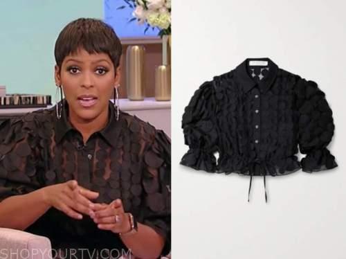 tamron hall, tamron hall show, black applique blouse
