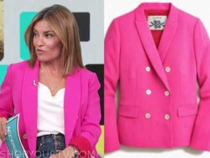 kit hoover, access daily, pink double breasted blazer