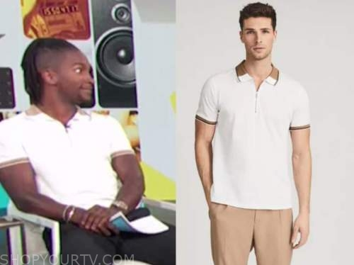 scott evans, white and camel contrast polo shirt, access daily