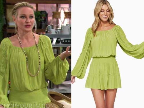 sharon newman, sharon case, the young and the restless, lime green dress