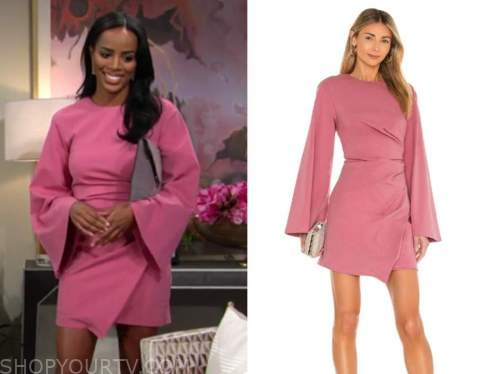 Leigh-Ann Rose, imani benedict, pink bell sleeve dress, the young and the restless,