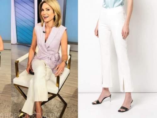 amy robach, good morning america, white split hem cropped pants