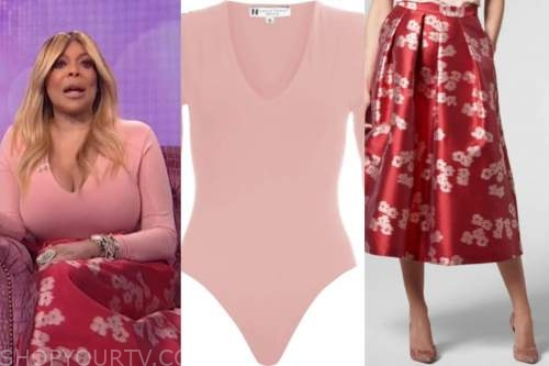wendy williams, the wendy williams show, pink bodysuit, red floral skirt
