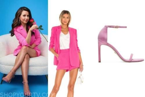 katie thurston, hot pink blazer, hot pink shorts, pink metallic sandals, the bachelorette