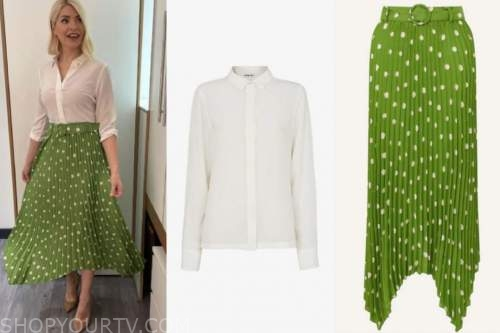 holly willoughby, this morning, white shirt, green polka dot pleated skirt