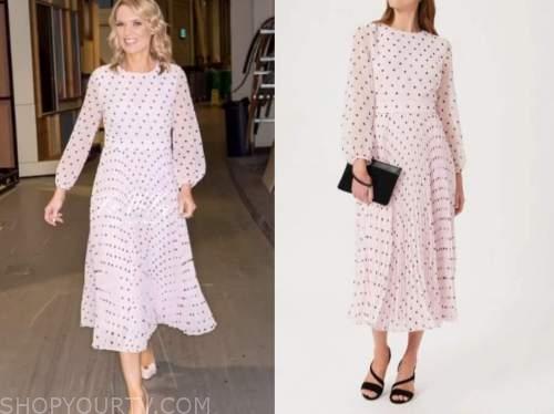 charlotte hawkins, good morning britain, pink and black polka dot midi dress