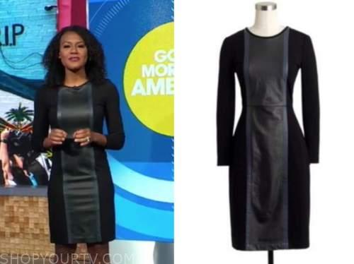 good morning america, janai norman, black leather panel sheath dress