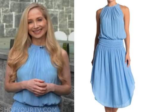 dr. whitney bowe, blue halter smocked waist dress, good morning america