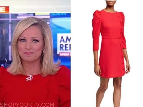 america reports, sandra smith, red scallop puff sleeve dress