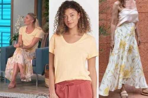 amanda kloots, the talk, yellow top, silk floral skirt