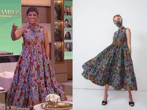 tamron hall, tamron hall show, black floral midi tiered dress