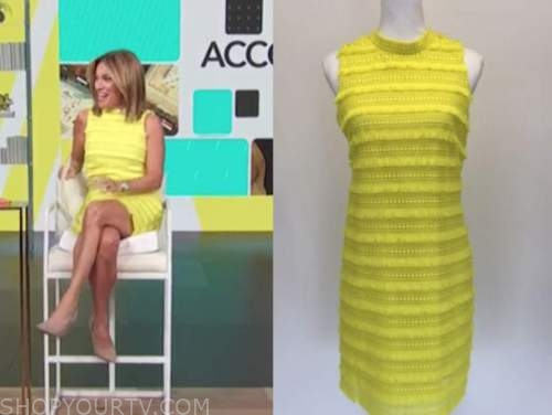 kit hoover, access daily, lime green yellow tiered dress