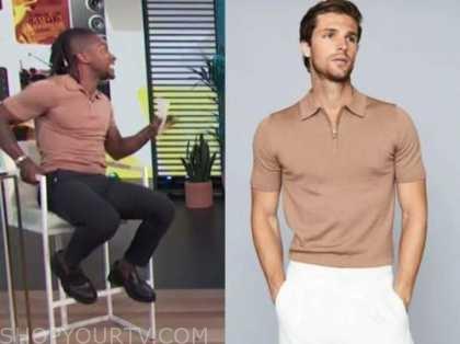 scott evans, access daily, beige camel polo shirt