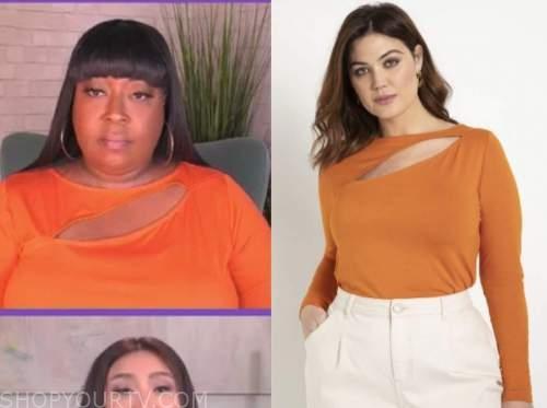 loni love, the real, orange cutout top