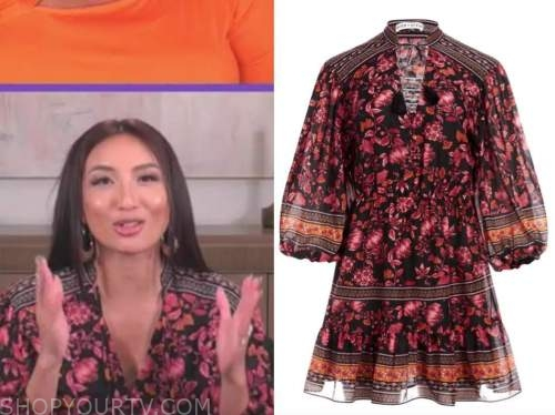 jeannie mai, the real, black floral dress