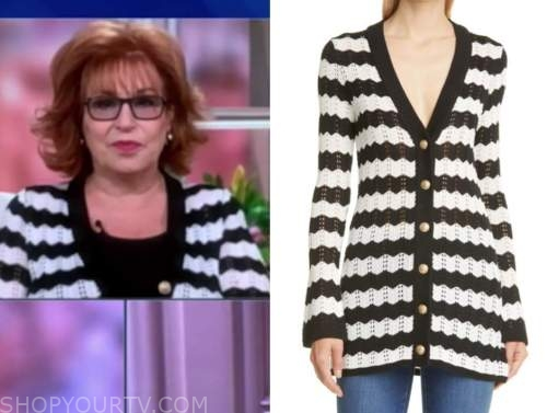 joy behar, the view, black and white striped cardigan sweater