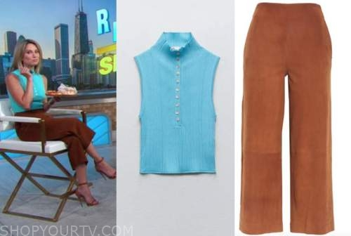 good morning america, gma3, amy robach, blue knit top, brown suede pants