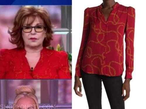 joy behar, the view, red chain print blouse