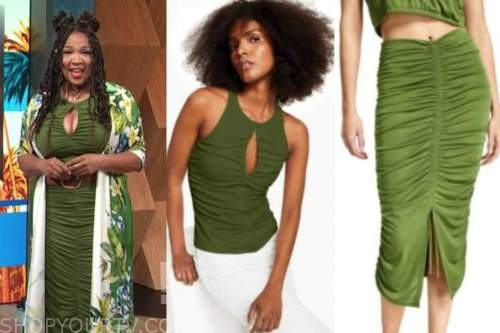 kym whitley, E! news, daily pop, green ruched top, green ruched skirt, dress, floral belted shirt dress