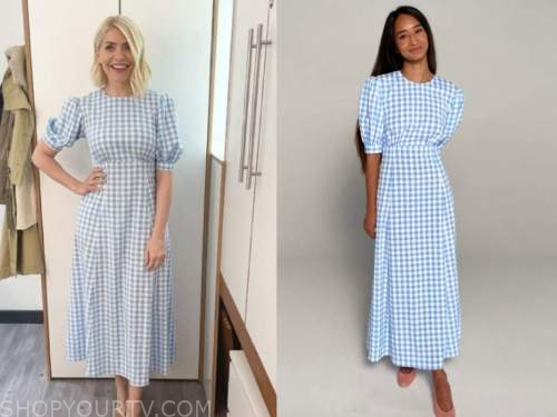 holly willoughby, blue gingham midi dress, this morning