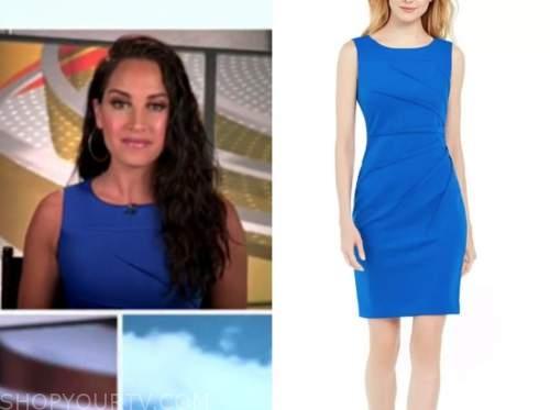 emily compagno, outnumbered, blue sheath dress