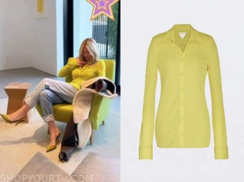 morgan stewart, lime green shirt, instagram fashion