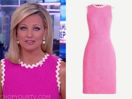 sandra smith, america reports, hot pink tweed scallop sheath dress