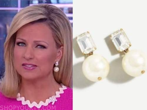 america reports, pearl and crystal drop earrings, sandra smith
