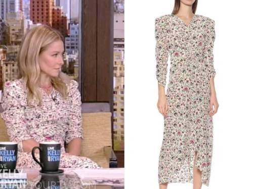 kelly ripa, live with kelly and ryan, white and pink printed midi dress