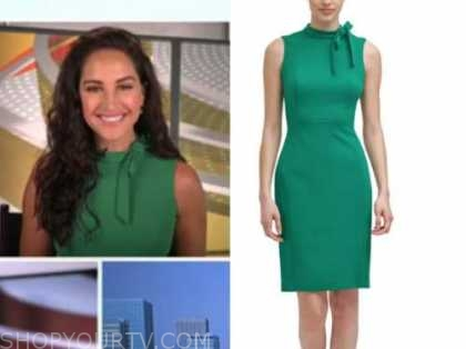 emily compagno, green bow sheath dress, outnumbered