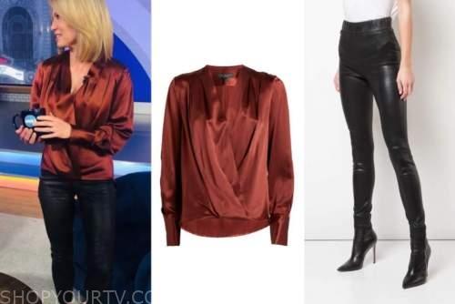 amy robach, good morning america, rust blouse, black leggings