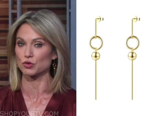 good morning america, gold drop earrings, amy robach