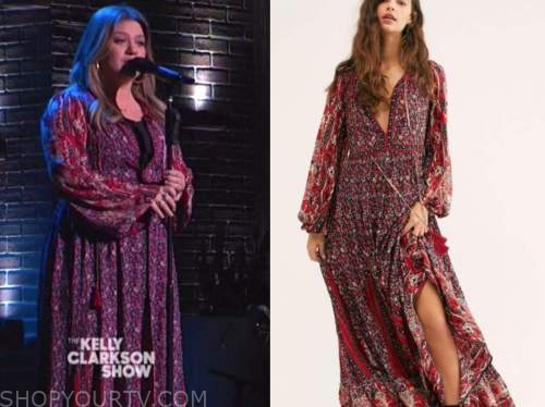 the kelly clarkson show, kelly clarkson, red floral midi dress